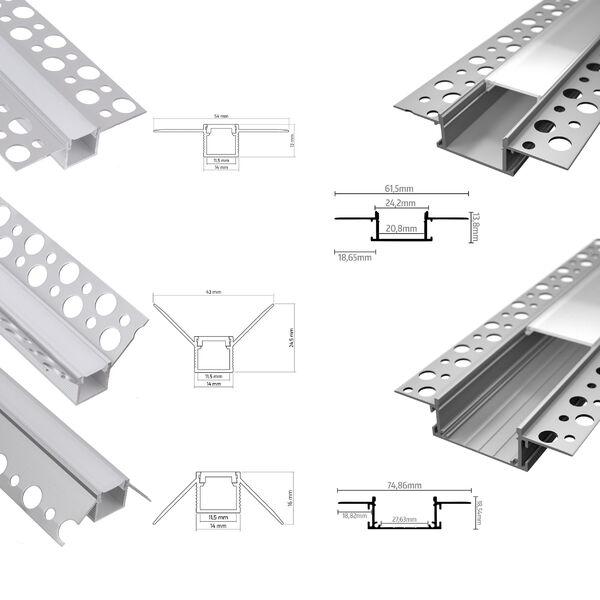 Aluminium Profil 2m Weiss//Silber Abd opal//klar f  LED Streifen Aluprofil