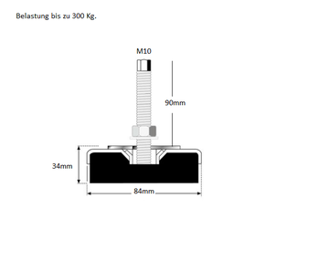 Maschinenschuh Schwingelement Maschinenfuss Stellfüsse ABM Serie 1 Stück