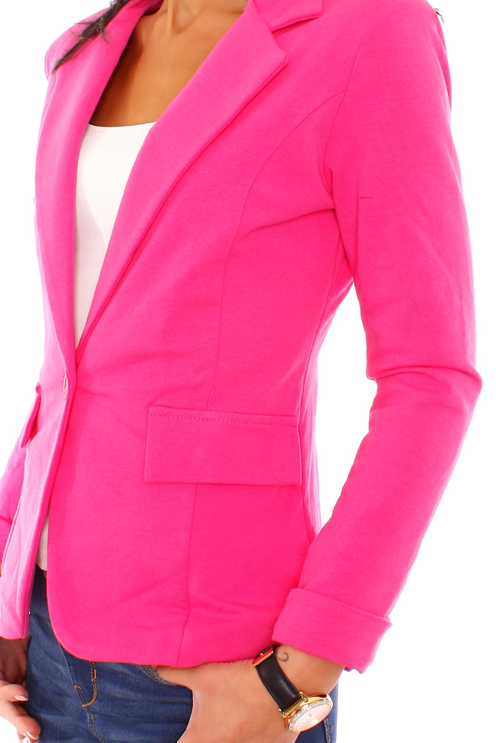 Damen Blazer Freizeitblazer Sakko Jacke Sweatblazer Jerseyblazer Gefüttert Uni