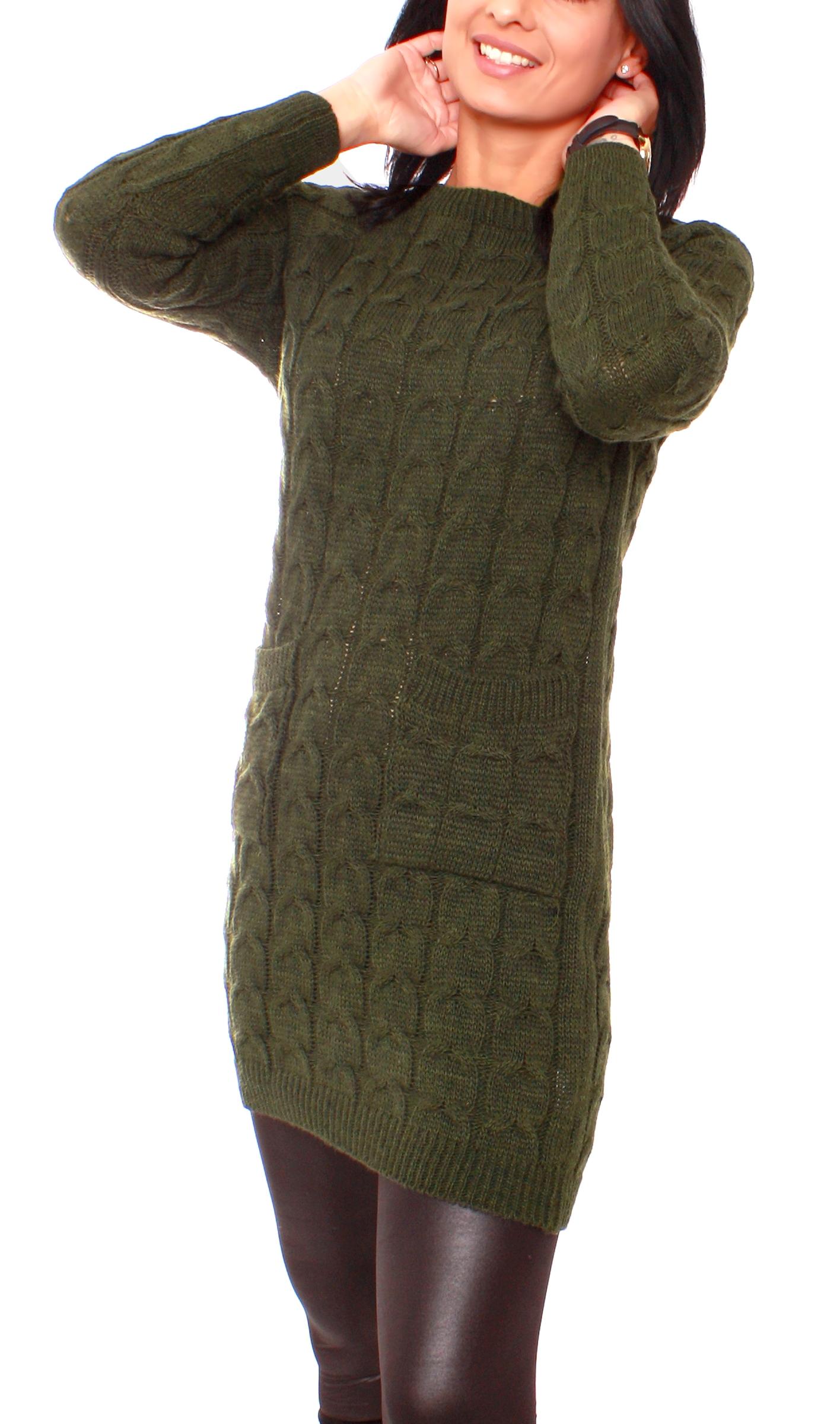 Damen Grobstrick Longpullover Pulloverkleid Strickpullover Lang mit Zopfmuster