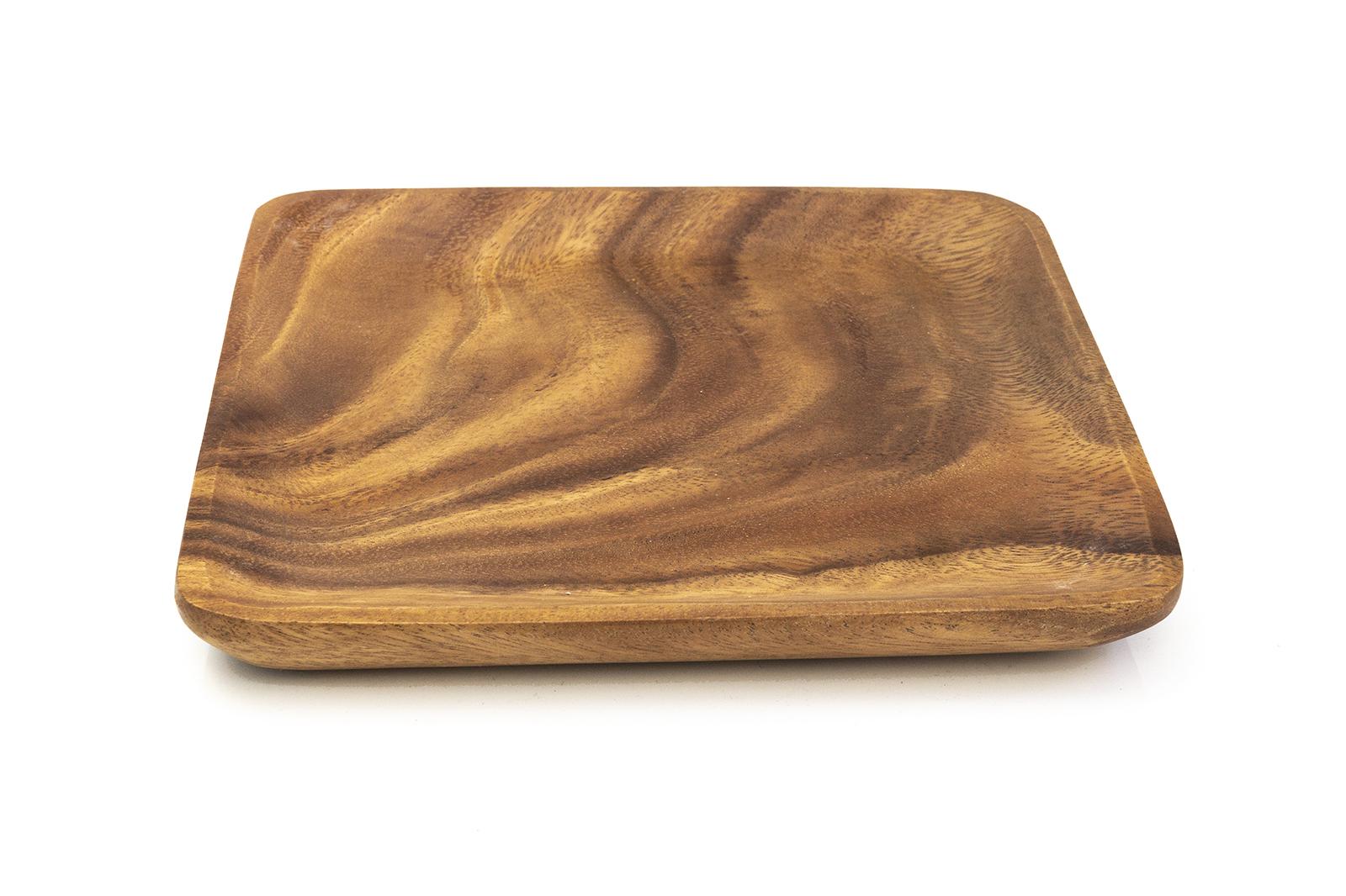 Servierteller eckig Holz Akazienholz Teller Servierplatte Fair Trade