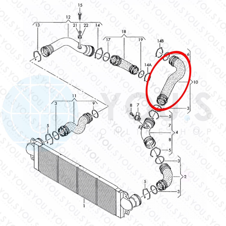 Ladeluftschlauch Turboschlauch 7H0145980Q für VW TRANSPORTER T5 V 1.9 TDI