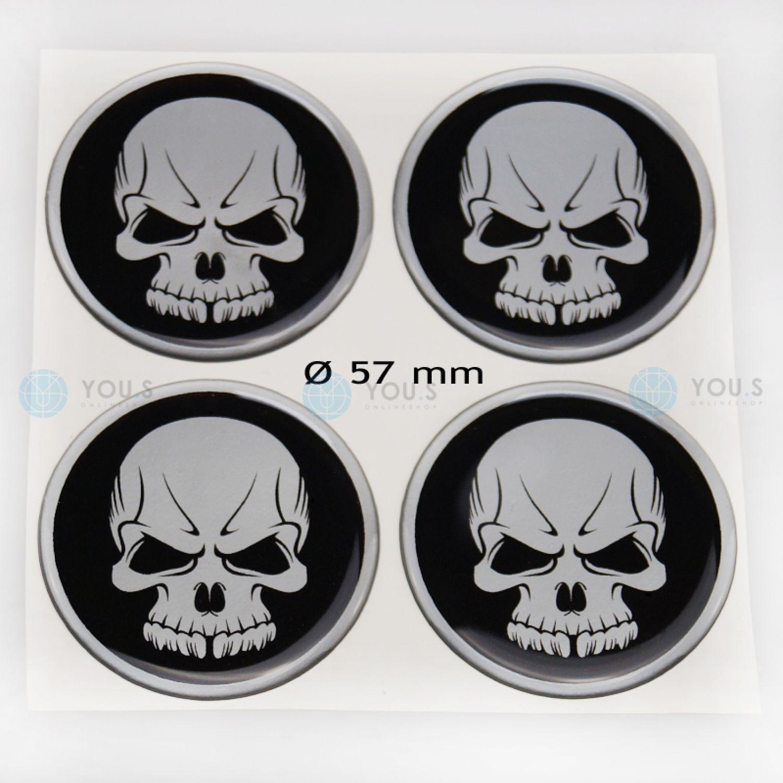 4 COPRIMOZZO in Silicone Adesivo Sticker TESCHIO 56,0 mm Emblema-Nuovo