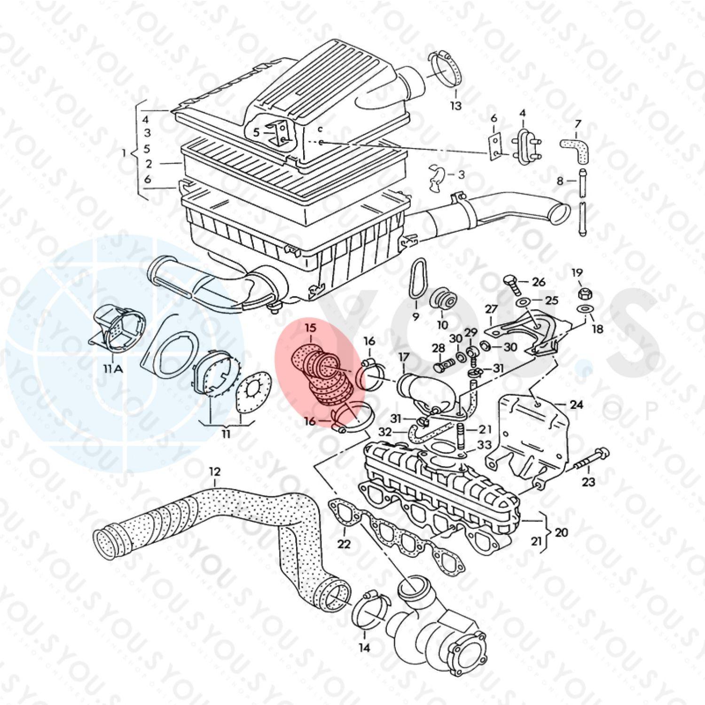 Turbo Tuyau pour VW Transporter 1.9 TDI 68 CH ref.nr.028129628a