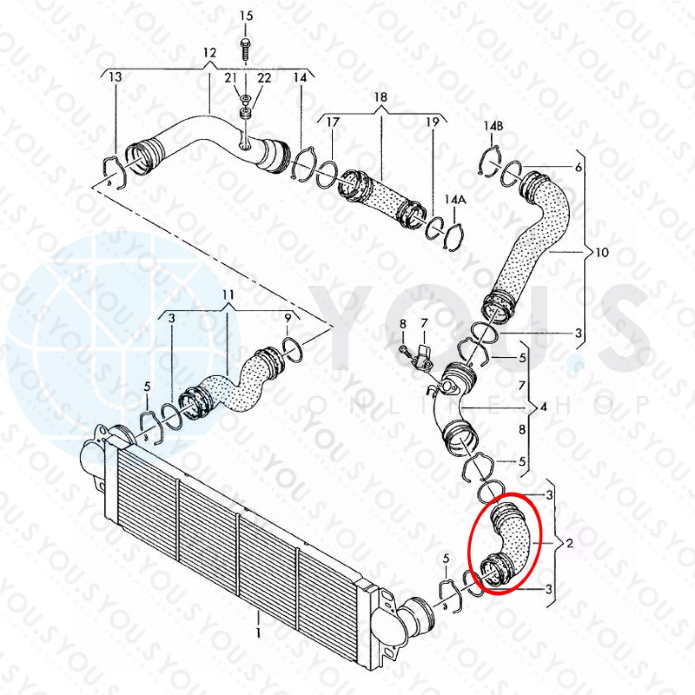 7h/_, 7e/_ 7h0145555c You 2.5 TDI s Original LADELUFT Tuyau VW MULTIVAN t5