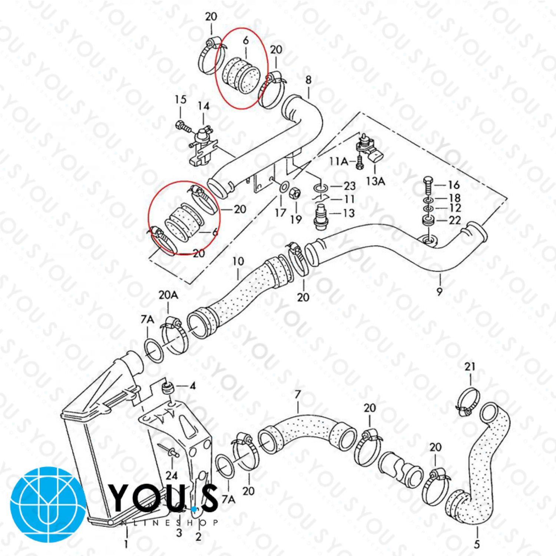 1.8 T 1.9//2.5 TDI YOU.S Ladeluftschlauch für AUDI A4//Avant 8D/_, B5 4B0145832B