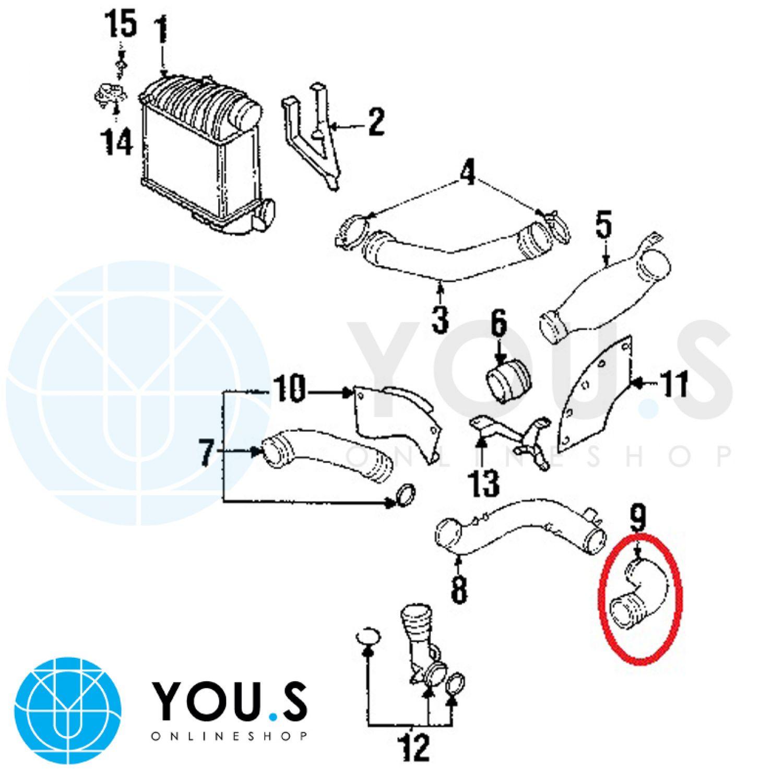 YOU.S Original Ladeluftschlauch AUDI A3 1.8 TFSI 2.0 TFSI 8P1 1K0145838G