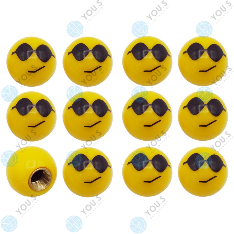 4er Set Ventilkappen Smiley mit Sonnenbrille in gelb für Auto Motorrad und  ...