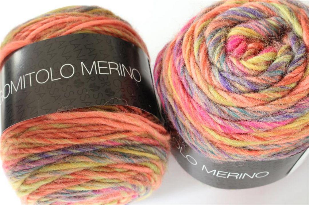 Gomitolo Merino Fb Lana Grossa 4 lachs//rot//grün 50 g Wolle Kreativ