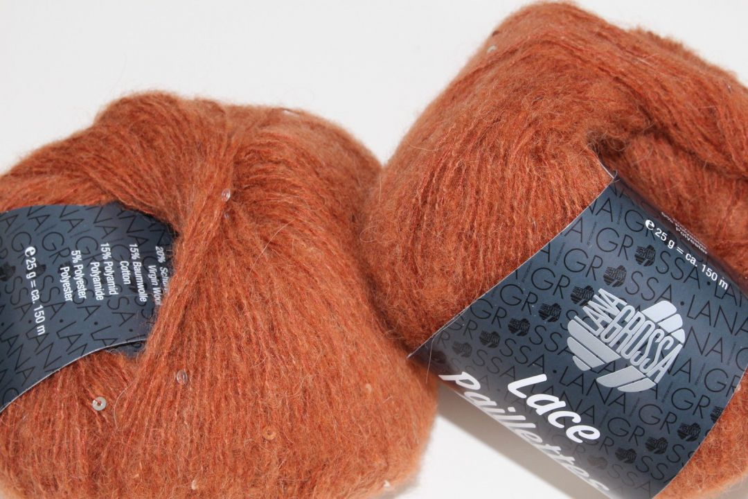 Lana Grossa Fb Lace Paillettes Wolle Kreativ 14 rotbraun 25 g