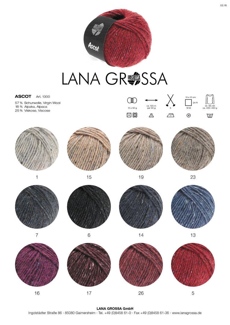 Wolle Kreativ Ascot Lana Grossa 1 natur meliert 50 g Fb