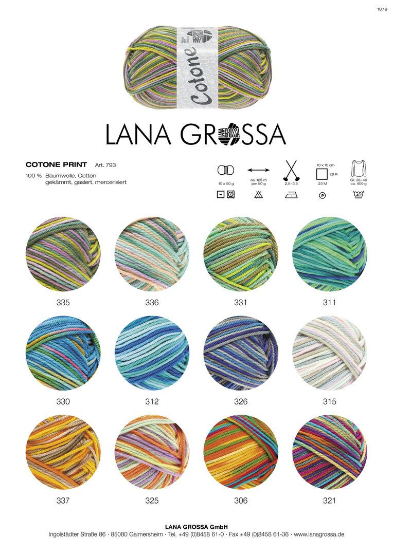 Fb Lana Grossa 806 grün//natur//olive 50 g Wolle Kreativ Cotone Fine Print