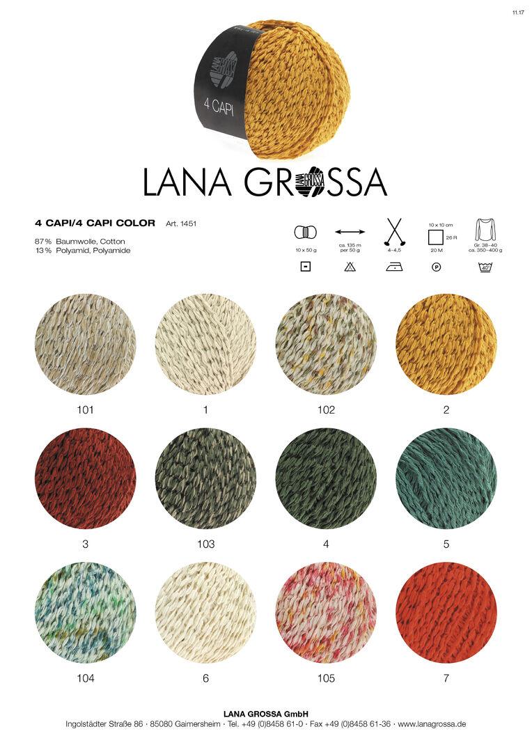Lana Grossa 105 natur//rot//sonnengelb 50 g 4 Capi color Fb Wolle Kreativ