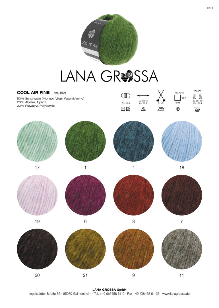 Wolle Kreativ Cool Air Fine Lana Grossa Fb.3 petrolblau 50 g