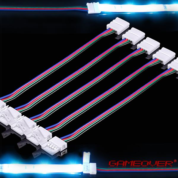 5x rgb led stripe schnell verbinder kabel adapter 4 pin stecker licht band ebay. Black Bedroom Furniture Sets. Home Design Ideas
