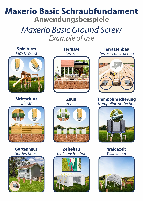 Indexbild 5 - Maxerio Schraubfundament; Ø 60 x 2; Länge: 600mm; M12