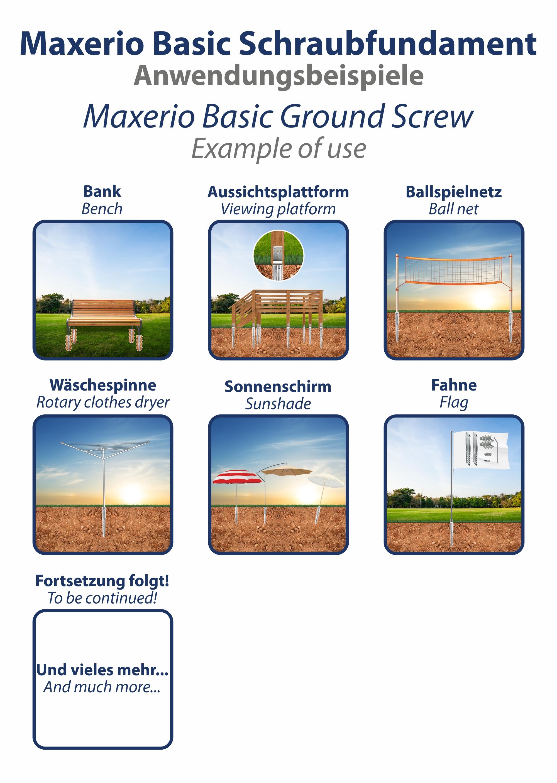 Indexbild 6 - Maxerio Schraubfundament; Ø 60 x 2; Länge: 600mm; M12