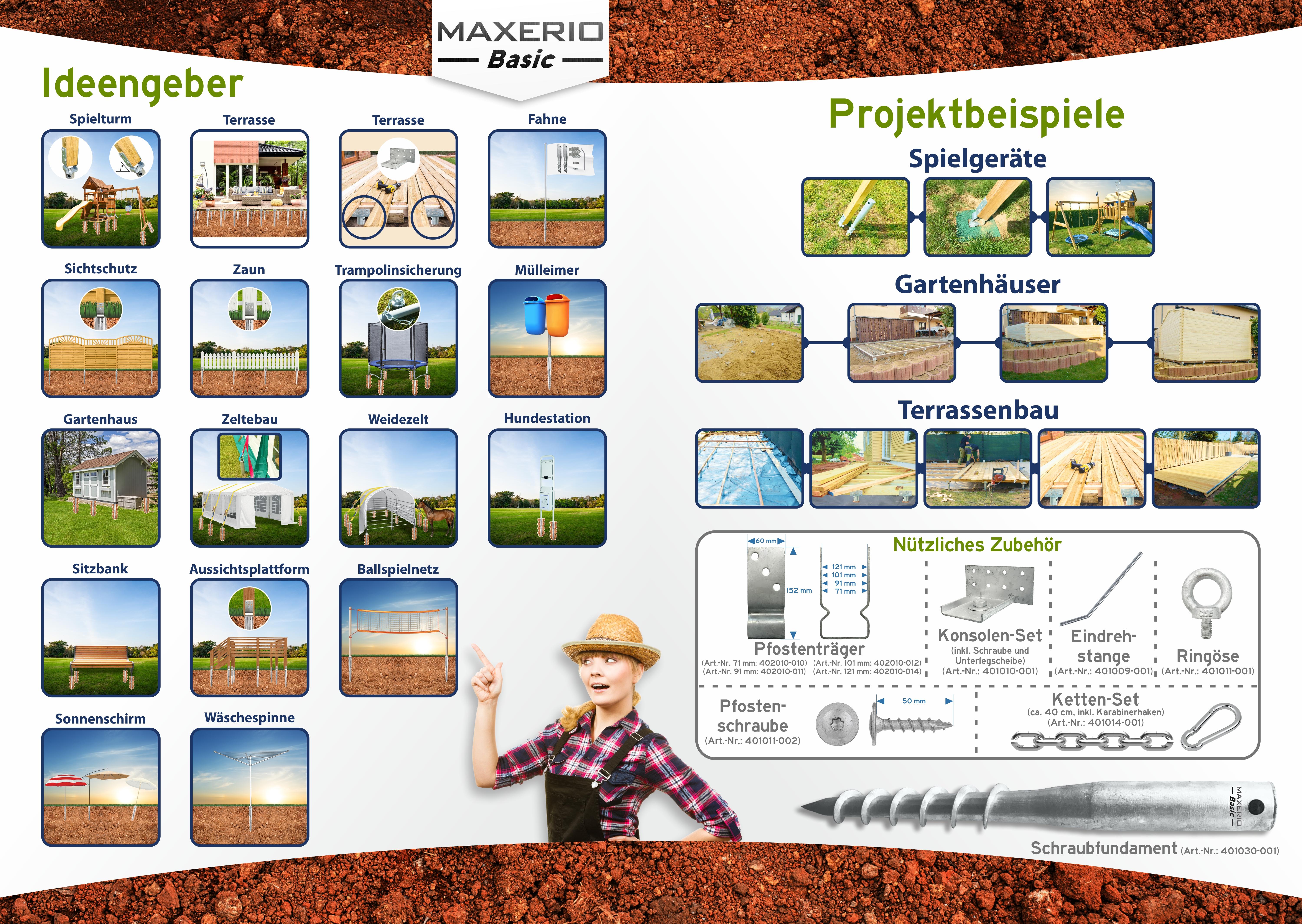 Indexbild 3 - Maxerio Schraubfundament; Ø 60 x 2; Länge: 600mm; M12