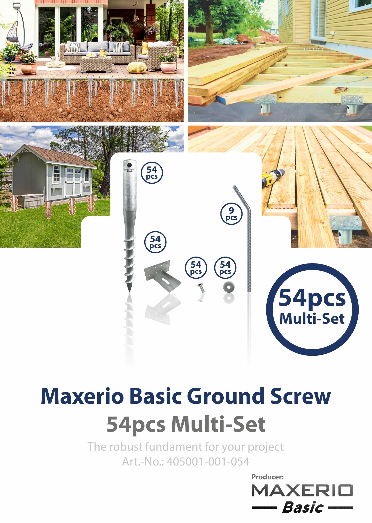 600mm M12 inkl Multi-Set Maxerio Schraubfundamente Ø 60 x 2; Länge Konsole
