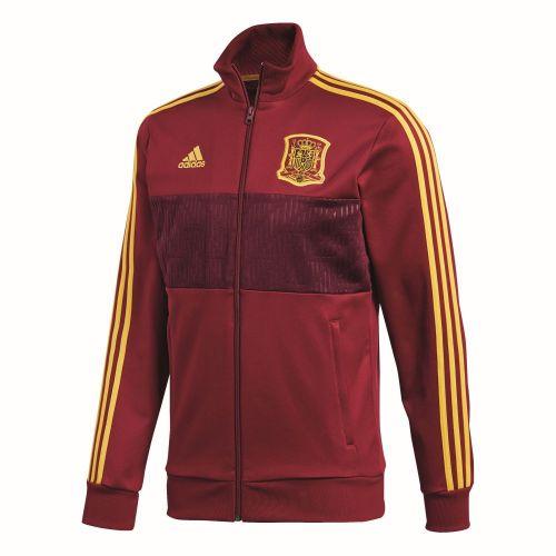 Details zu Adidas Fußball Spanien 3 Streifen Track Jacke Herren dunkelrot gelb