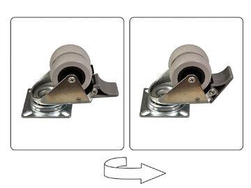 4 tlg Set Doppel-Lenkrollen 50mm 70kg 2 mit 2 ohne Feststeller Vollgummi Rad