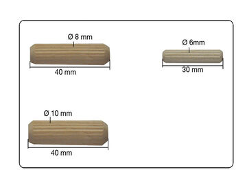 Holzdübel Riffeldübel Holzverbinder FSC® 12x70mm 35 Stück 0016