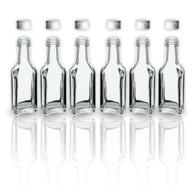 6 Glasflaschen Schnapsflaschen Likörflaschen 20ml / 2cl leere ...