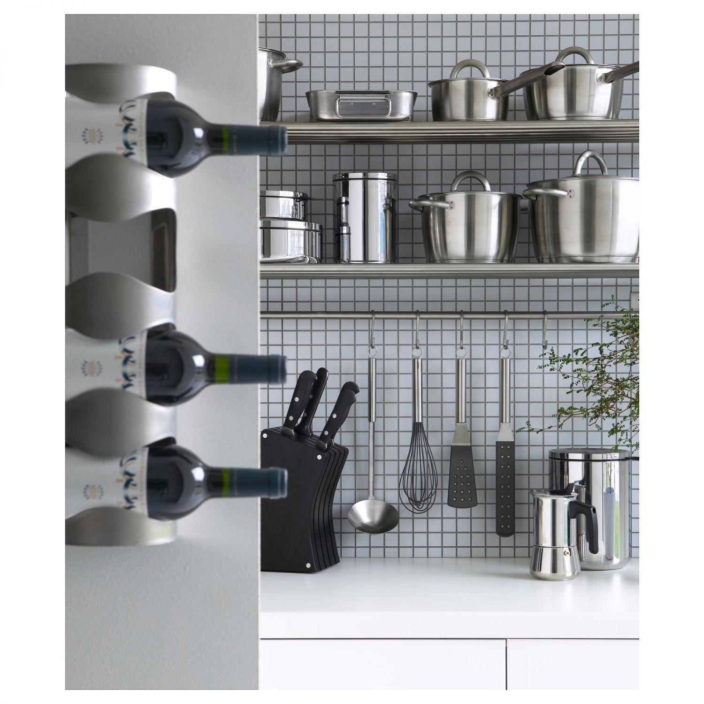 ikea vurm stainless steel bottle holder for 4 bottles stand wine rack metal ebay. Black Bedroom Furniture Sets. Home Design Ideas