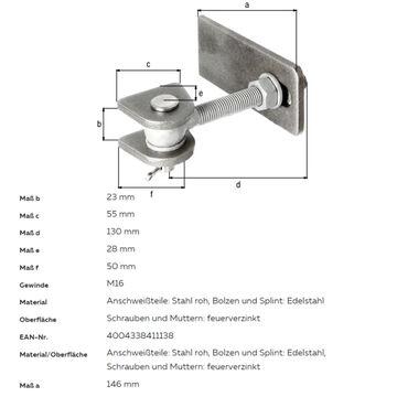 versch Größen GAH Verstellbares stahl Torband für Metalltore 180° Öffnung