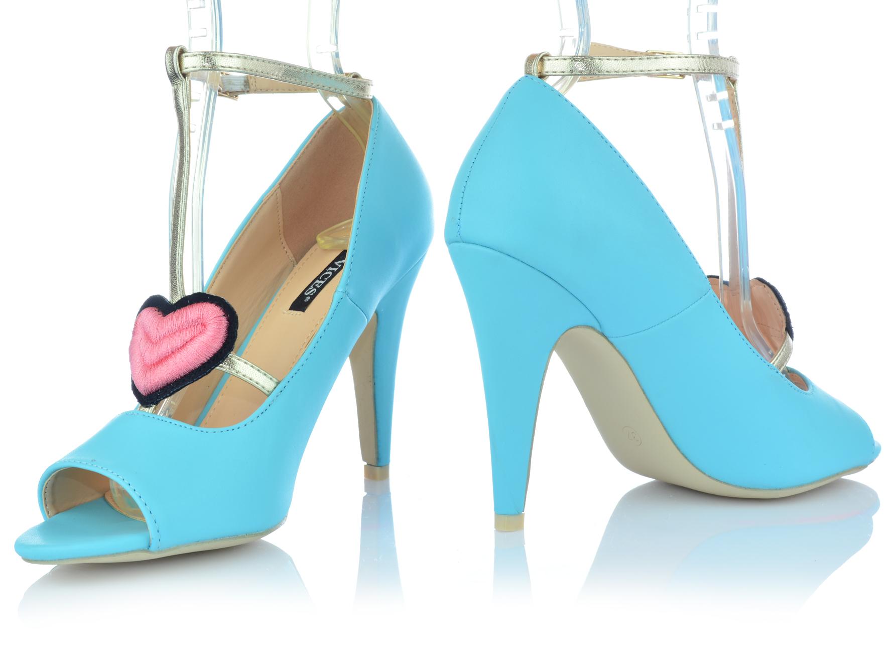 Zapatos-senora-tacon-alto-Stiletto-pumps-noche-zapatos-peep-con-tiras-zapatos-de-fiesta miniatura 6