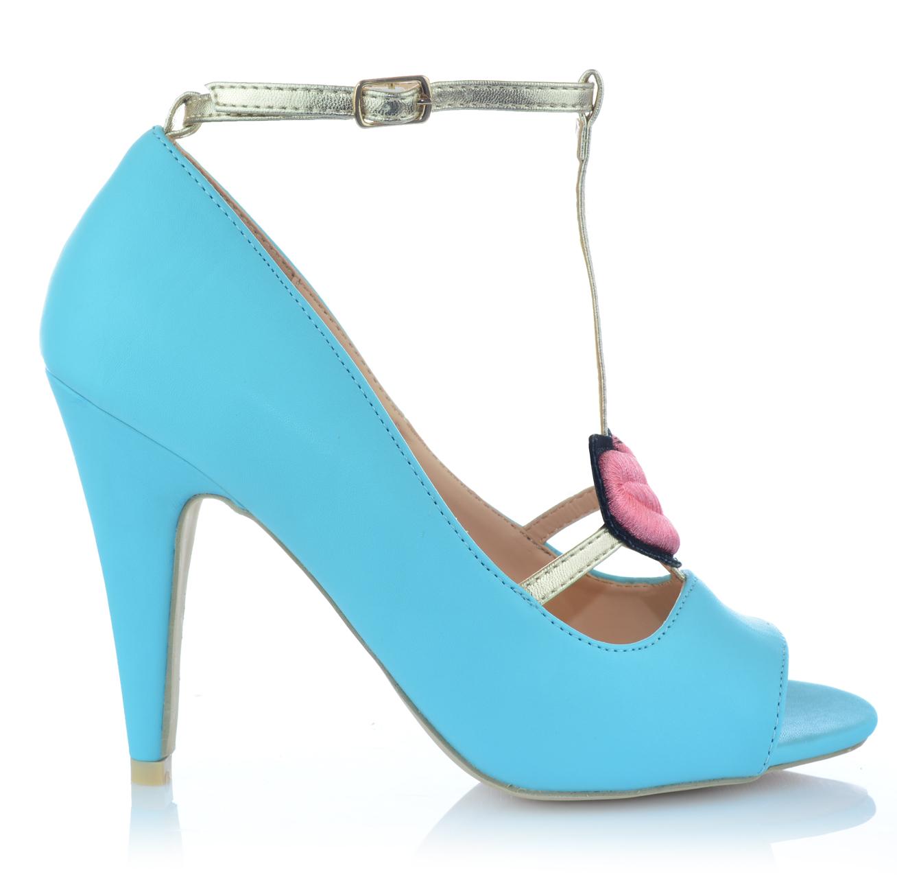 Zapatos-senora-tacon-alto-Stiletto-pumps-noche-zapatos-peep-con-tiras-zapatos-de-fiesta miniatura 3