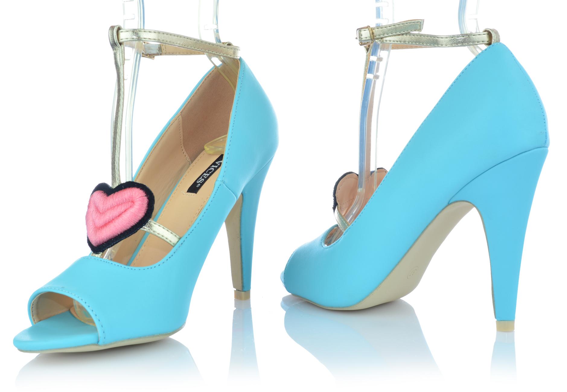 Zapatos-senora-tacon-alto-Stiletto-pumps-noche-zapatos-peep-con-tiras-zapatos-de-fiesta miniatura 7