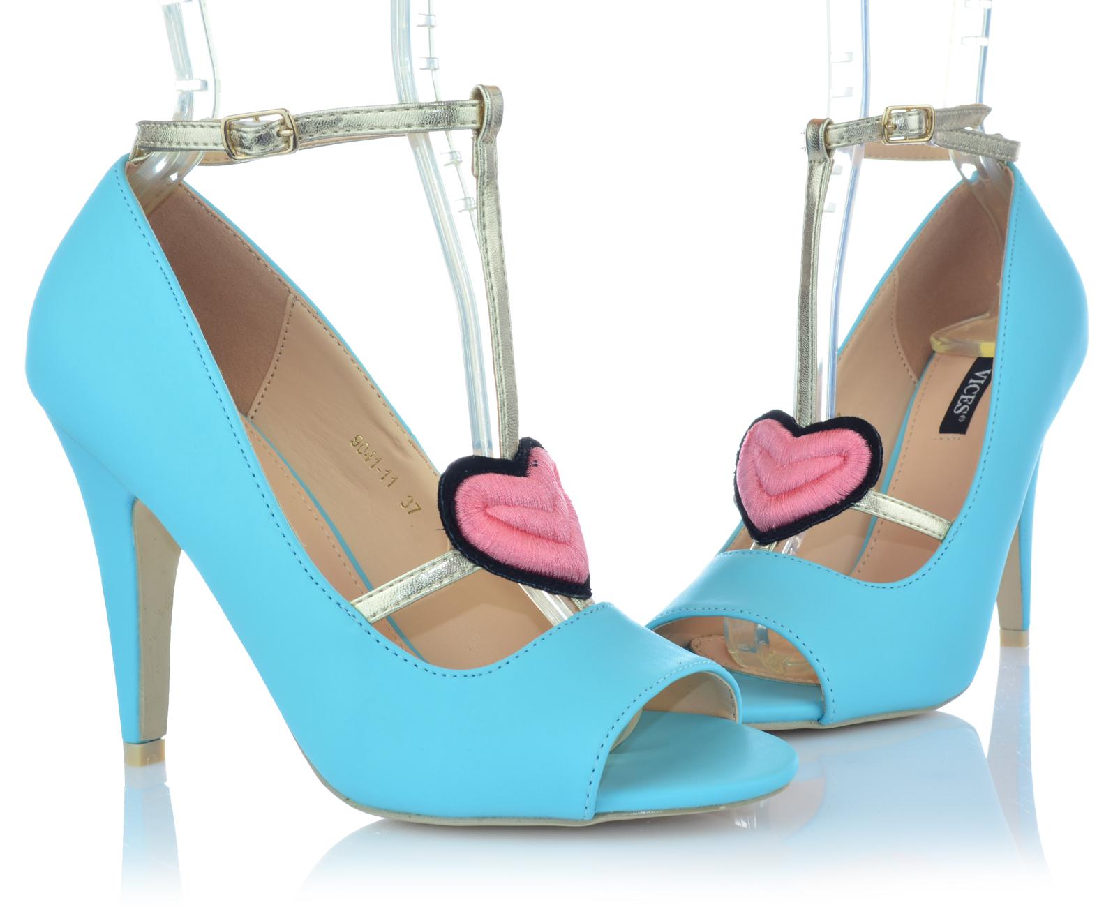 Zapatos-senora-tacon-alto-Stiletto-pumps-noche-zapatos-peep-con-tiras-zapatos-de-fiesta miniatura 5