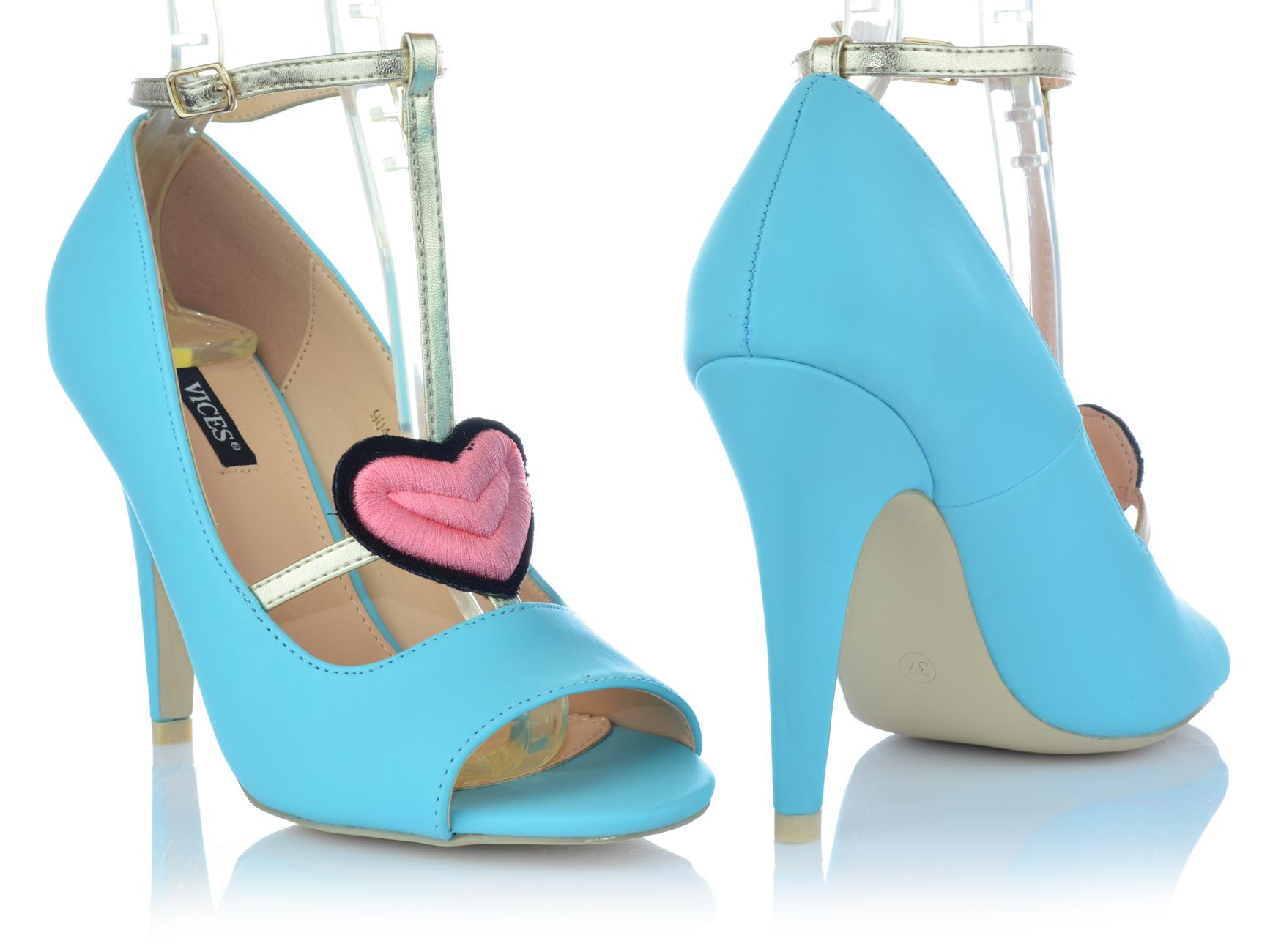 Zapatos-senora-tacon-alto-Stiletto-pumps-noche-zapatos-peep-con-tiras-zapatos-de-fiesta miniatura 4