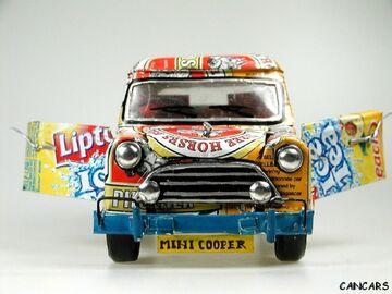 Mini Austin Cooper M 1:18 Blechauto Blechspielzeug Werbemodelle Recycling Kunst Antiquitäten & Kunst Gefertigt Nach 1970