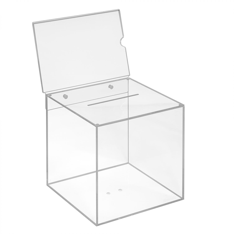 Losbox aus Acrylglas 200x200x200mm, mit Topschild A5 Quer ...