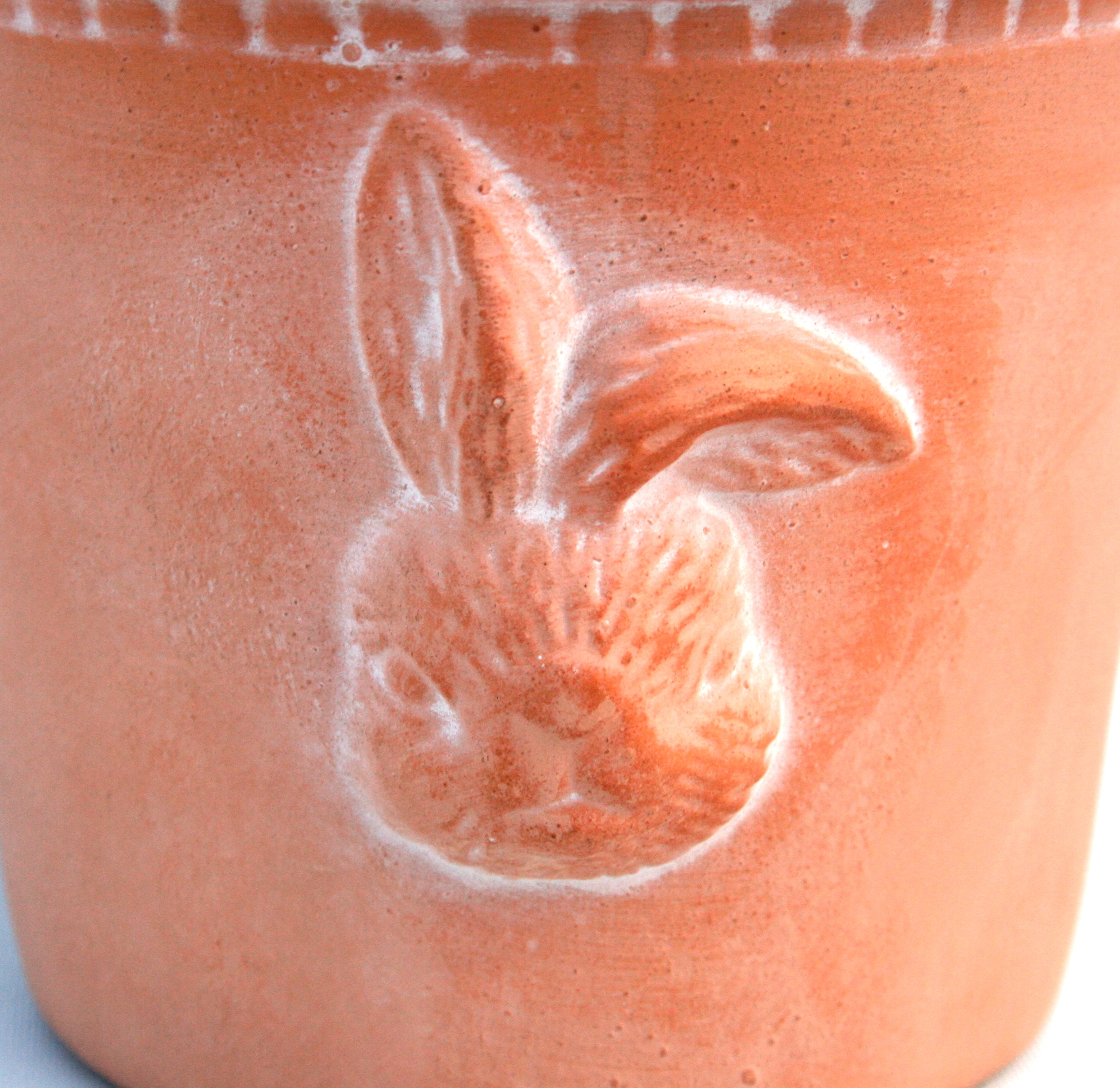 Topf Terracotta Pflanztopf Blumentopf Kräutertopf mit Motiv Hase oder Küken NEU