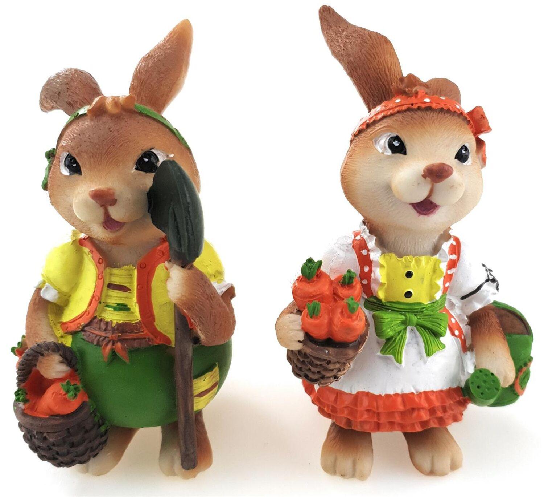 Osterhasenpaar mit Regenschirm 16 cm Ostern,Deko,Garten,Frühling,Holz