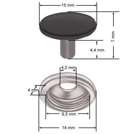 50 set pulsador de acero inoxidable set cúbranlos plane camping nähfrei 15 mm 200 STK