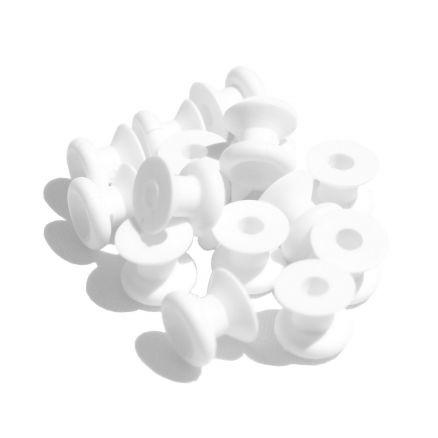 20 Stück Nylon Rundknopf f Anhänger Expanderseil Gummiseil Seilhalter weiß