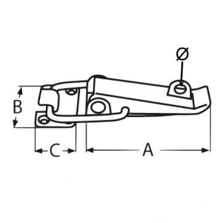 4 St 194mm Edelstahl Hebelverschluss Spannverschluss abschließbar Öse 11mm