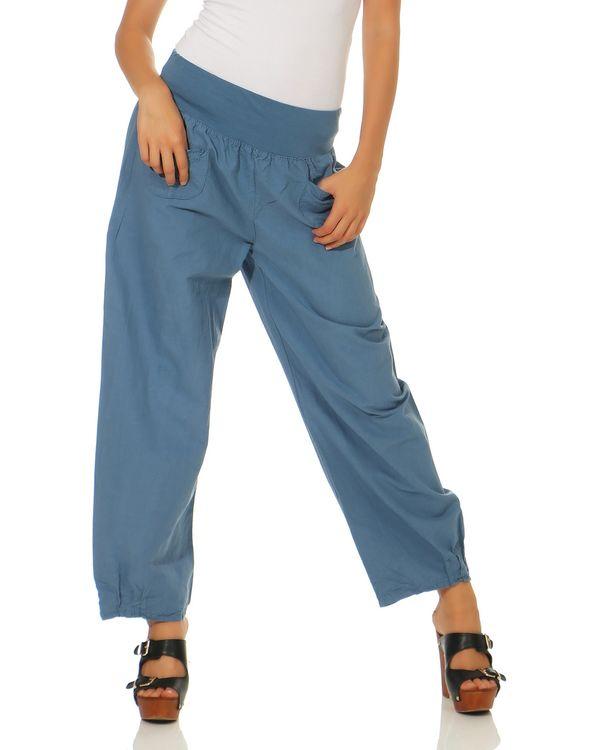 Lässige Damen Leinen Hose unifarbene Stoffhose ideal im Sommer Business