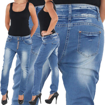 Damen Jeans Baggy Boyfriend Hose Chino Stonewashed Stretch Hüfthose Pump Pluder