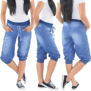 Boyfriend Aladin Harems Pump Pluder 3//4 Jeans Chino Hose Shorts Capri Bermuda