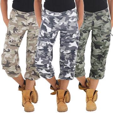 Damen Army Armee Camouflage Shorts Capri Hot Pants Bermuda Cargo Kurze Hose