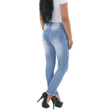 MOZZAAR Damen High Waist Röhre Stretch Skinny Jeans Hose Mit rissen zerrissen