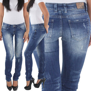 Damen Hose Jeans Jeanshose Röhre Röhrenjeans Hüftjeans Skinny Retro Denim Blau