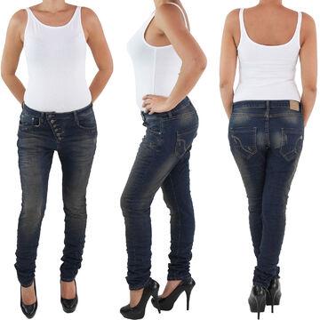 Damen Röhren Jeans Hüft Hose Skinny Slim Röhre Stretch in Blau mit 3 Knöpfen M56