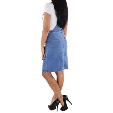 SOTALA Damen Jeans Rock Latzrock Jeansrock Midi Stretch