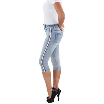 Damen Hochbund Capri 7//8 Shorts High Waist Jeans Stretch 3//4 Sommer Bermuda Hose
